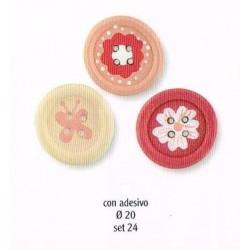 Pack 24 Botones Adhesivos Rosas