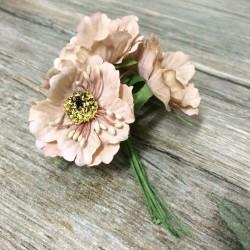 Gerbera Papel Beige 6 Flores