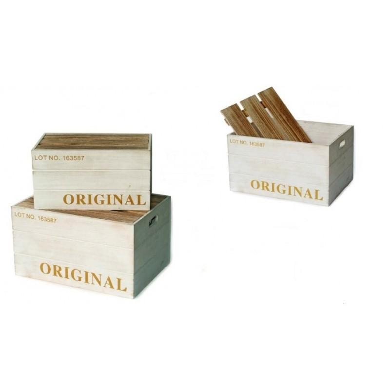 Caja madera original blanca con tapa embalajes y envoltorios for Caja madera con tapa